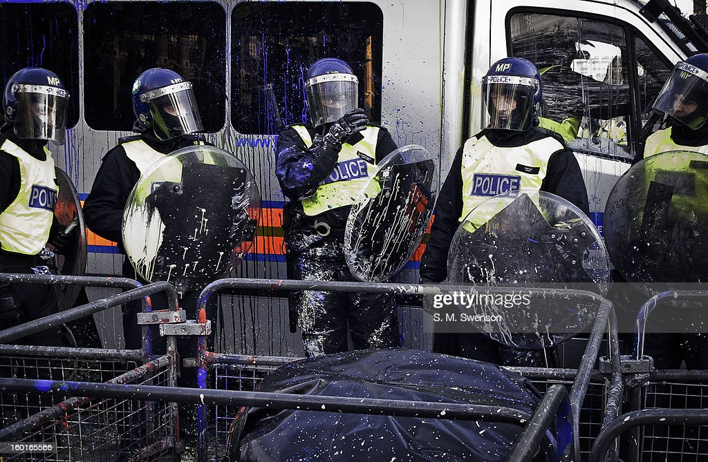 CONTENT] Riot Police in full gear and shields were paintballed by demonstators at the student demonstration on December 9, 2010. Parliament was voting that day whether to treble university fees. The bill ended up passing. This is an afternoon shot in Westminster, London outside the Houses of Parliament.