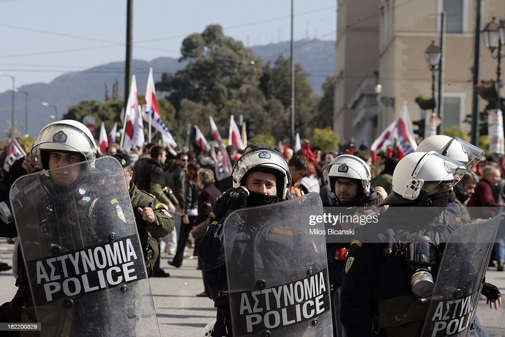Riot police outside Greece's parliament during a protest on February 20, 2013 in Athens, Greece. Unions have launched general strike against austerity measures in Greece, amid predictions unemployment in the crisis-hit country will reach 30 percent this year.