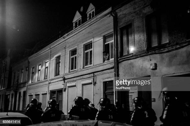 Riot police securing the area during an anti police brutality demonstration on February 15 2017 in Lille France Violent protests have broken out...