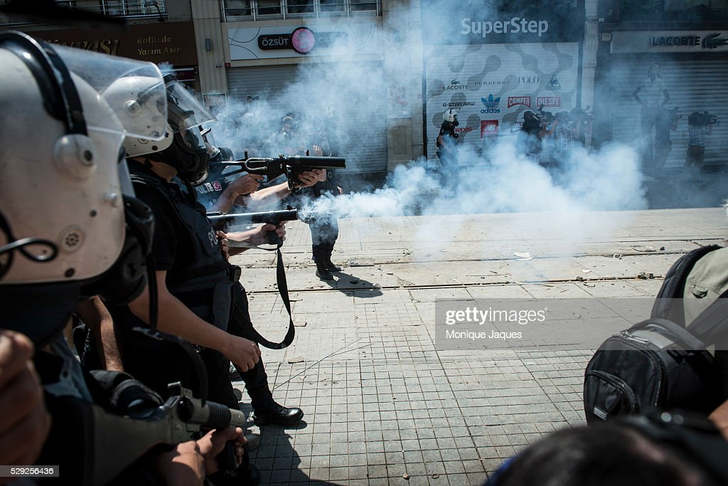 Riot police shoot off tear gas to push back protestors Protests in Istanbul Turkey continue Protests began as a fight to save Gexi Park in central...