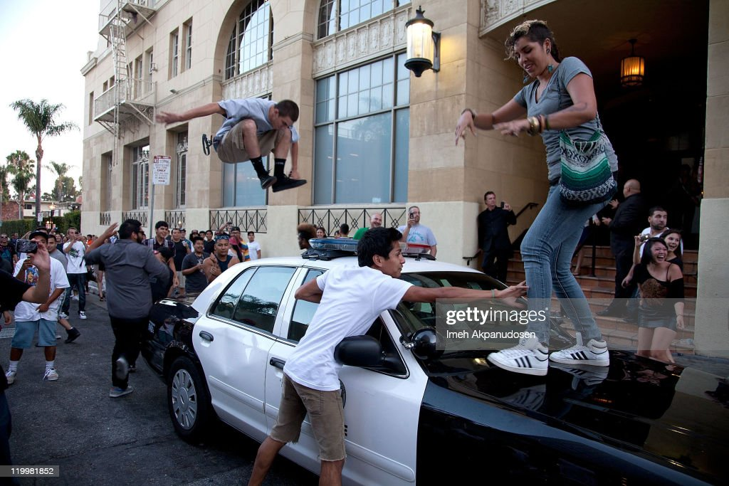 Riots break out at 'Electric Daisy Carnival Experience' Los Angeles premiere held at Grauman's Chinese Theatre on July 27 2011 in Hollywood California