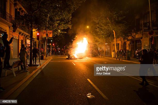 Riots in the neighborhood of Sants in Barcelona city for the eviction and demolition of Can Vies May 29th of 2014 Barcelona Catalonia Spain Europe