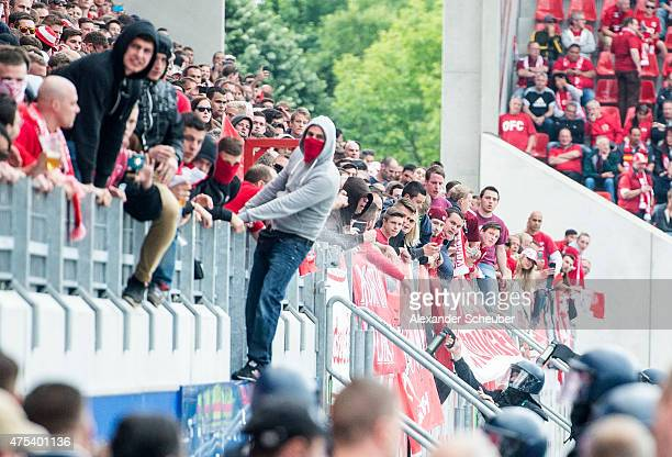 riots of the offenbach fans during the Regionalliga Playoff match between Kickers Offenbach and 1 FC Magdeburg at SpardaBankHessenStadion on May 31...