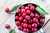 ripe cherries in a pan on a wooden background, there are cherry leaves, top view