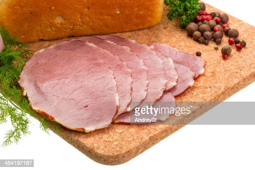 Ripe fresh ham with vegetables : Stock Photo