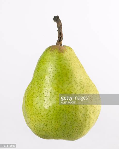 A ripe green pear isolated on white