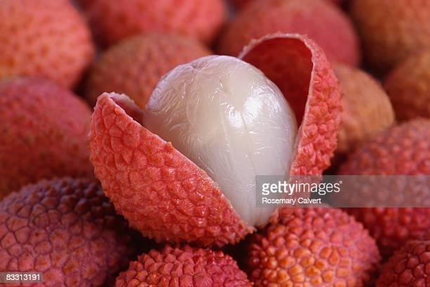Ripe lychee split open.