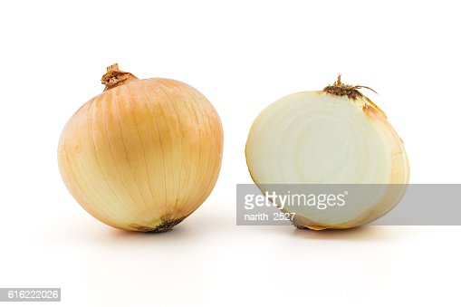 Ripe onion on a white background, clipping part : Stock Photo