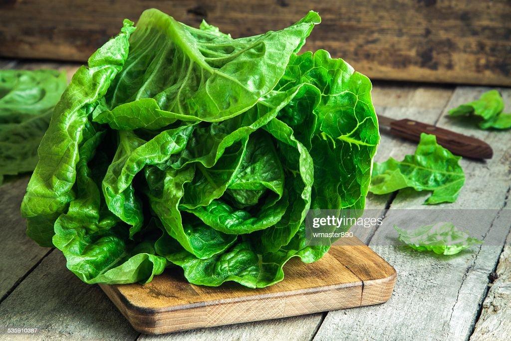 Salada verde com tomates orgânico Romano : Foto de stock