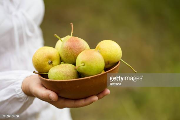 Ripe organic pears in ceramic bowl