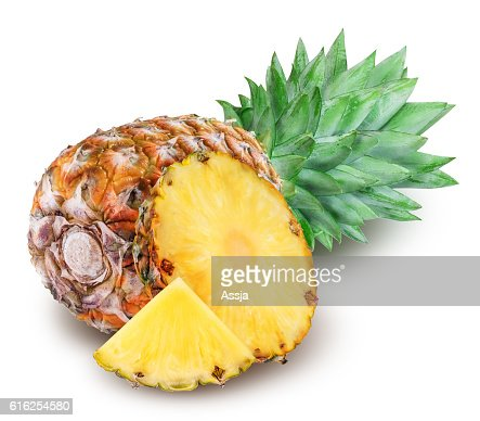 Ripe pineapple isolated on white background : Stock Photo