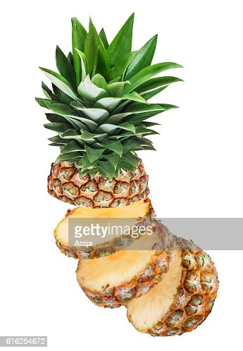 Ripe pineapple isolated on white background : Stock Photo