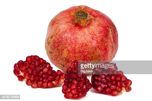 Ripe pomegranate fruit, isolated on white background : Stock Photo