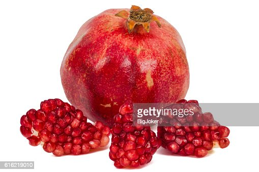 Ripe pomegranate fruit, isolated on white background : Stockfoto