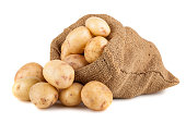 Ripe potato in burlap sack isolated on white background