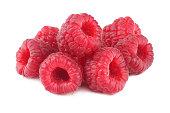 ripe raspberries isolated on white background macro