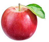 Ripe red apple with leaf. File contains clipping path.