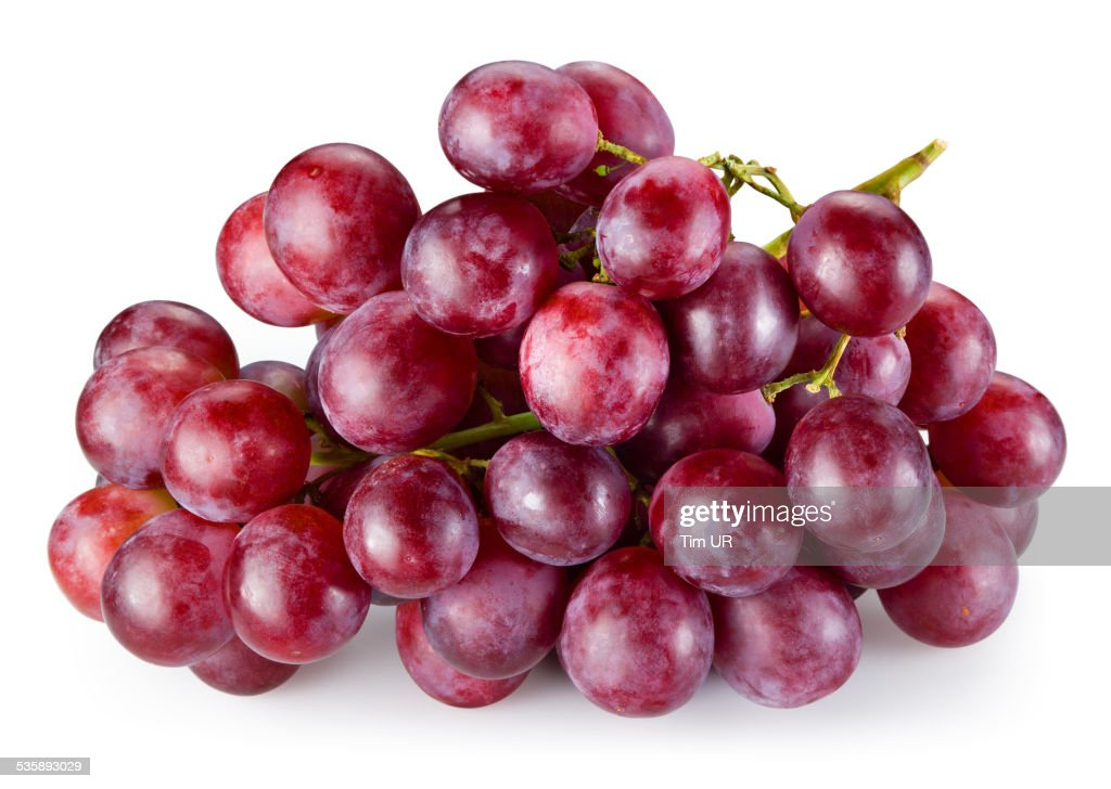 Ripe red grape isolated on white background. With clipping path : Stockfoto