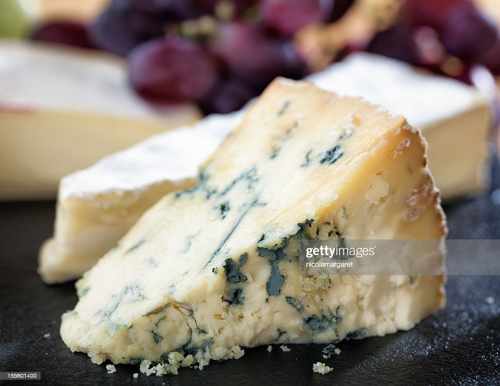 Ripe Stilton on cheeseboard