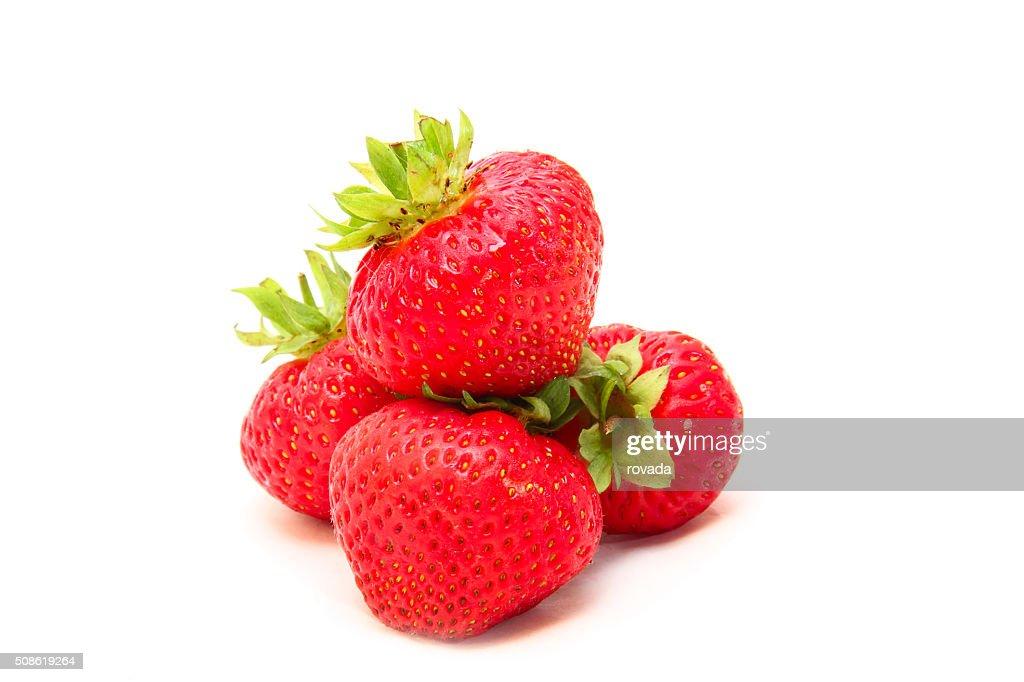 ripe strawberries isolated on white : Stock Photo