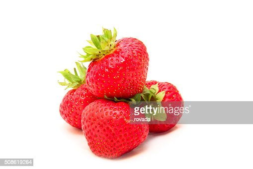 ripe strawberries isolated on white : Stock Photo