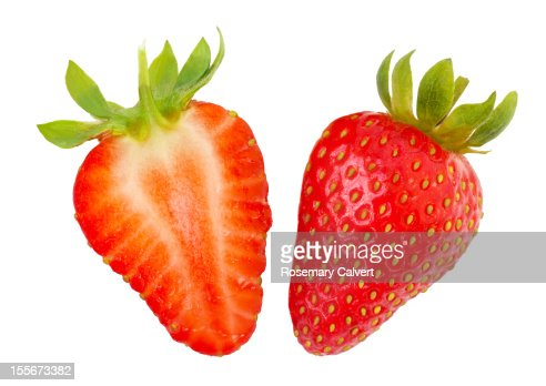Ripe strawberry halves : Stock Photo