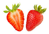 Ripe strawberry halves