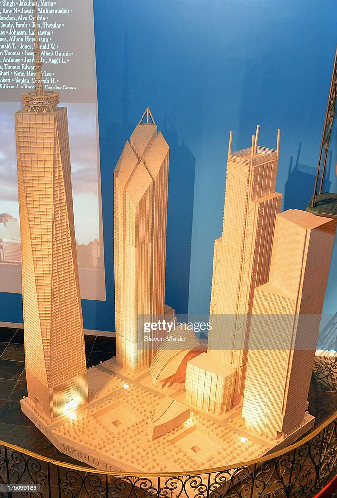 Ripley's Believe It or Not! Times Square officially opens its newest exhibit, a 17 feet tall, perfect scale model of World Trade Center assembled from more than 470,000 matchsticks, at Ripley's Believe It or Not! Odditorium on July 31, 2013 in New York City. Created by Patrick Acton of Gladbrook, Iowa, the wooden sculpture took more than a year to construct and is the only one of its kind. With a memorial video as the backdrop, the exhibit entitled 'Unbelievable Resilience,' celebrates the World Trade Center rebuilding efforts currently under construction in lower Manhattan.