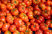 Ripped sicilian tomatoes for sale at a market