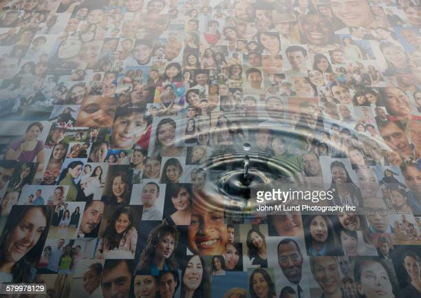 Ripple of water over montage of smiling faces