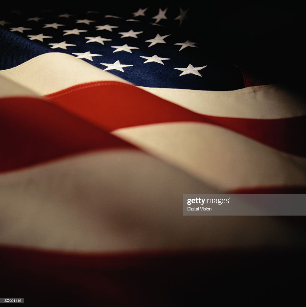 Rippled USA flag, detail : Stock Photo