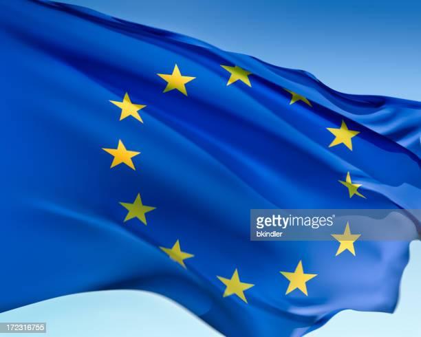 Rippling European Union flag against pale blue background