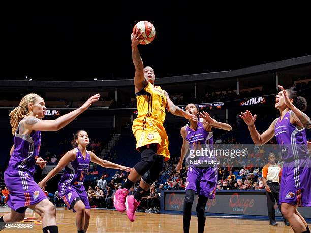 Riquna Williams of the Tulsa Shock goes for the layup against the Phoenix Mercury on August 18 2015 at the BOK Center in Tulsa Oklahoma NOTE TO USER...