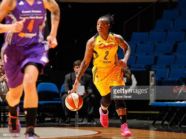 Riquna Williams of the Tulsa Shock handles the ball against the Phoenix Mercury on August 18 2015 at the BOK Center in Tulsa Oklahoma NOTE TO USER...