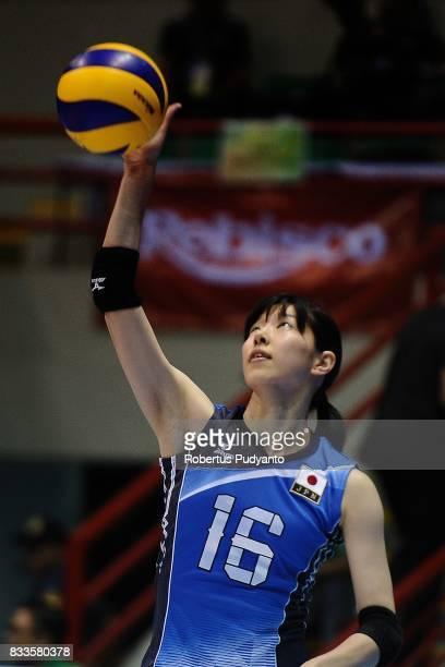 Risa Ishii of Japan spikes during the 19th Asian Senior Women's Volleyball Championship 2017 Final match between Thailand and Japan at Alonte Sports...