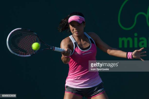 Risa Ozaki in action during the Miami Open on March 22 at the Tennis Center at Crandon Park in Key Biscayne FL
