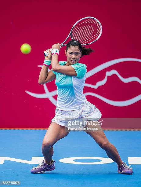 Risa Ozaki of Japan in action against Venus Williams of USA during their Singles Round 1 match of the Prudential Hong Kong Open at Victoria Park...