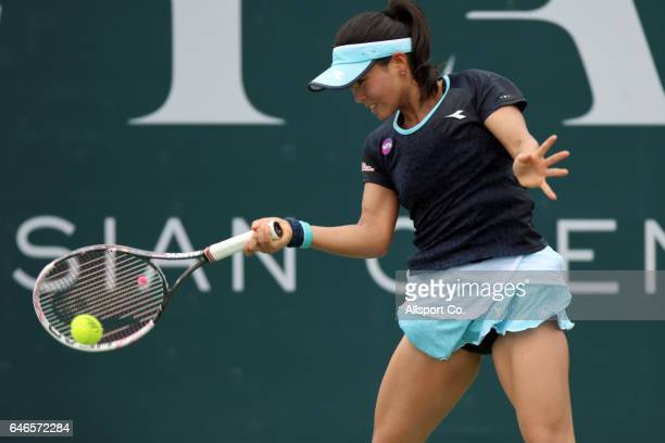 Risa Ozaki of Japan in action against Zhang KaiLin of China during Round Two of the 2017 WTA Malaysian Open at the TPC on March 1 2017 in Kuala...
