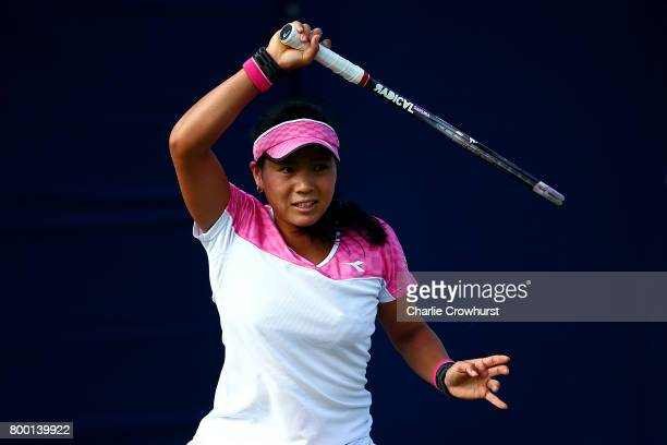 Risa Ozaki of Japan in action during her women's qualifying match against Jacqueline Cako of USA during qualifying on day one of the Aegon...