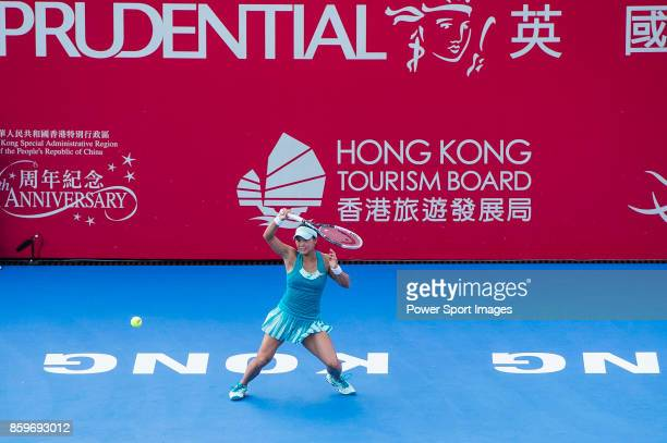 Risa Ozaki of Japan in action during the Prudential Hong Kong Tennis Open 2017 match between Risa Ozaki of Japan and Venus Willians of USA at...