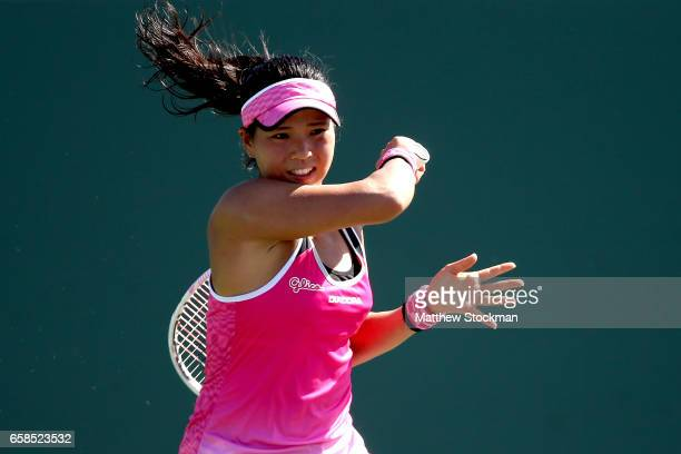 Risa Ozaki of Japan plays Angelique Kerber of Germany during the Miami Open at the Crandon Park Tennis Center on March 27 2017 in Key Biscayne Florida