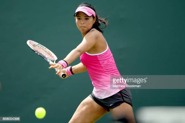 Risa Ozaki of Japan returns a shot to Julia Goerges of Germany during the Miami Open at the Crandon Park Tennis Center on March 26 2017 in Key...