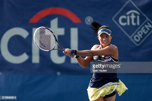 Risa Ozaki of Japan returns a shot to Yulia Putintseva of Kazakhstan during day 5 of the Citi Open at Rock Creek Tennis Center on July 22 2016 in...