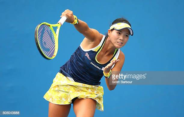 Risa Ozaki of Japan serves in her match against Maryna Zanevska of Ukraine during round two of 2016 Australian Open Qualifying at Melbourne Park on...