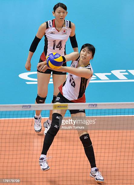 Risa Shinnabe of Japan in action during day five of the FIVB World Grand Prix Sapporo 2013 match between USA and Japan at Hokkaido Prefectural Sports...