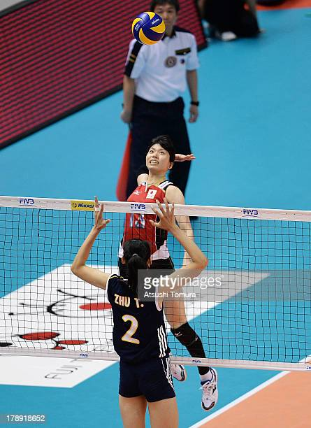 Risa Shinnabe of Japan in action during day four of the FIVB World Grand Prix Sapporo 2013 match between Japan and China at Hokkaido Prefectural...