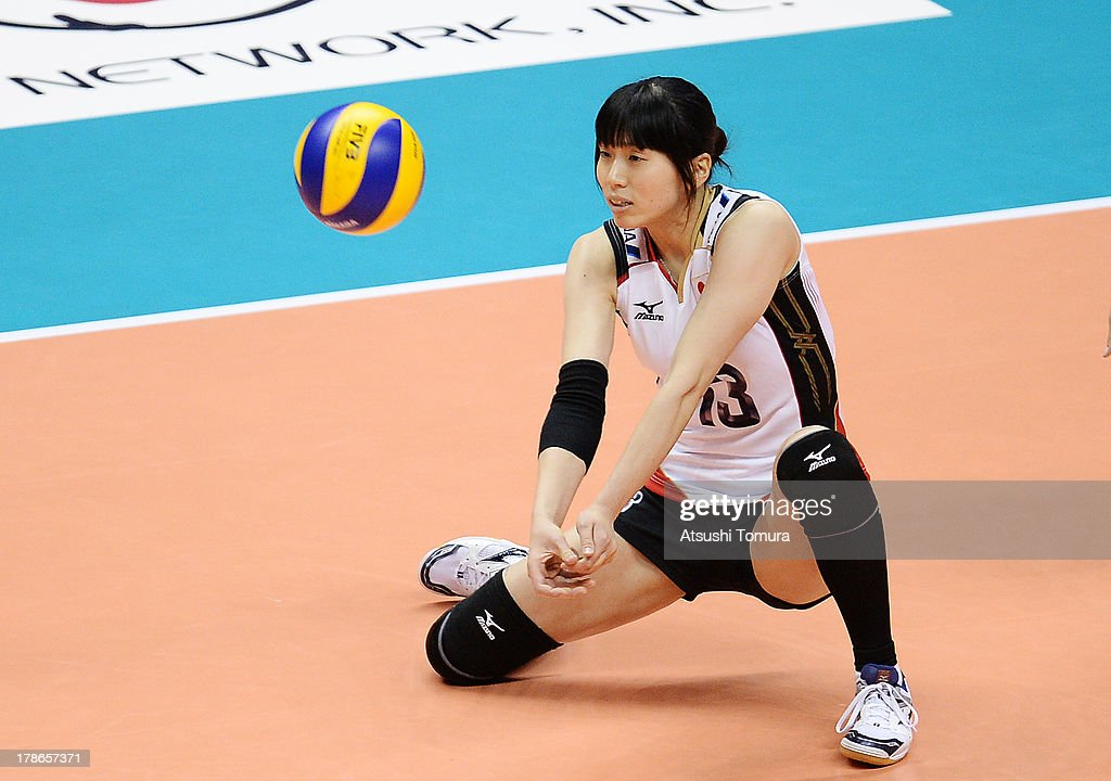 <a gi-track='captionPersonalityLinkClicked' href=/galleries/search?phrase=Risa+Shinnabe&family=editorial&specificpeople=8641931 ng-click='$event.stopPropagation()'>Risa Shinnabe</a> of Japan in action during day three of the FIVB World Grand Prix Sapporo 2013 match between Serbia and Japan at Hokkaido Prefectural Sports Center on August 30, 2013 in Sapporo, Hokkaido, Japan.