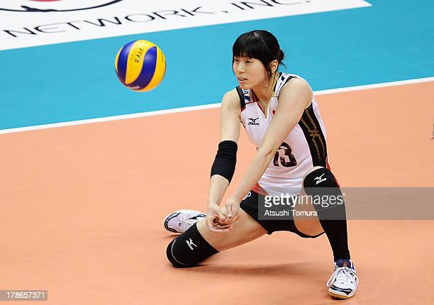 Risa Shinnabe of Japan in action during day three of the FIVB World Grand Prix Sapporo 2013 match between Serbia and Japan at Hokkaido Prefectural...