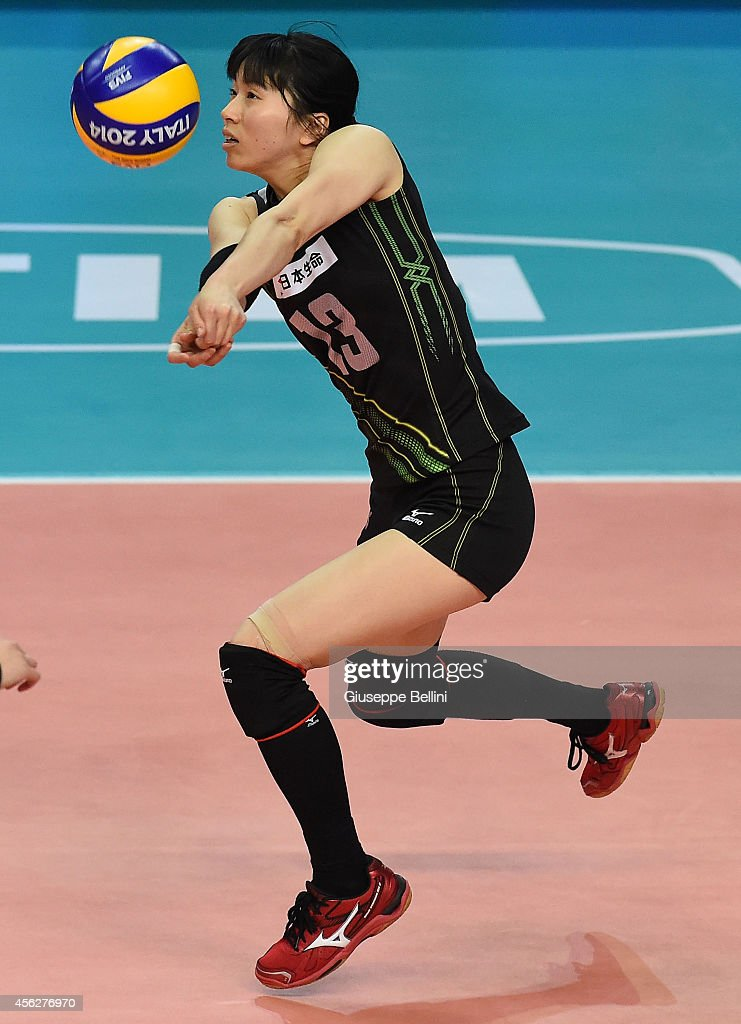 <a gi-track='captionPersonalityLinkClicked' href=/galleries/search?phrase=Risa+Shinnabe&family=editorial&specificpeople=8641931 ng-click='$event.stopPropagation()'>Risa Shinnabe</a> of Japan in action during the FIVB Women's World Championship pool D match between Japan and China on September 28, 2014 in Bari,Italy.
