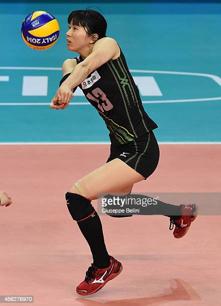 Risa Shinnabe of Japan in action during the FIVB Women's World Championship pool D match between Japan and China on September 28 2014 in BariItaly